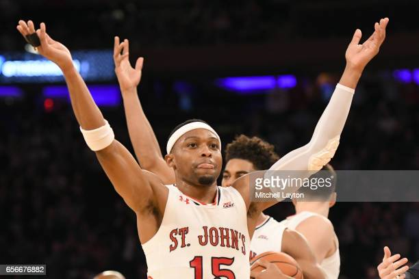 Marcus LoVett of the St John's Red Storm celebrates a call during the Big East Basketball Tournament First Round game against the Georgetown Hoyas at...