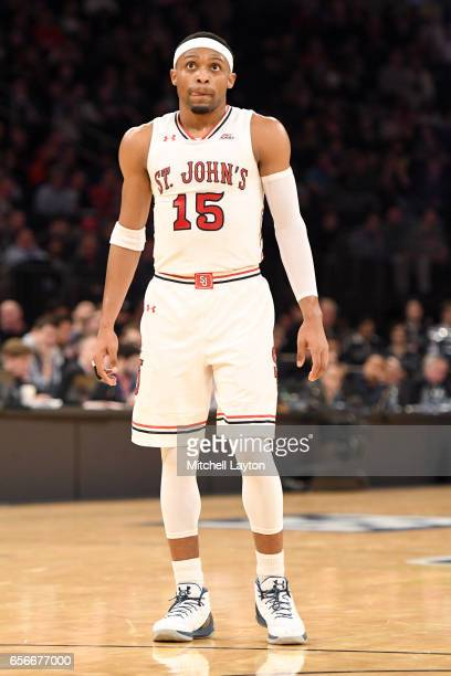 Marcus LoVett of the St John's Red Storm looks on during the Big East Basketball Tournament First Round game against the Georgetown Hoyas at Madison...