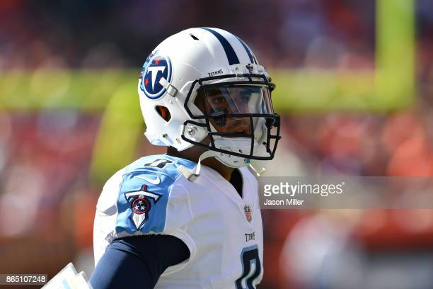 Marcus Mariota of the Tennessee Titans looks on from the sideline in the first half against the Cleveland Browns at FirstEnergy Stadium on October 22...