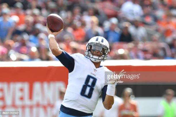 Marcus Mariota of the Tennessee Titans passes in the second half against the Cleveland Browns at FirstEnergy Stadium on October 22 2017 in Cleveland...
