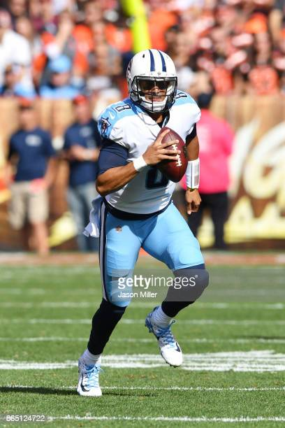 Marcus Mariota of the Tennessee Titans runs with the ball in the second half at FirstEnergy Stadium on October 22 2017 in Cleveland Ohio