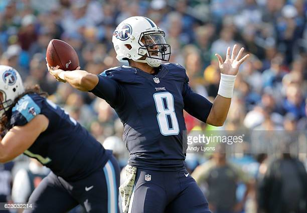 Marcus Mariota of the Tennessee Titans throws a pass during the game against the Green Bay Packers at Nissan Stadium on November 13 2016 in Nashville...