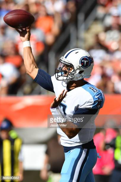 Marcus Mariota of the Tennessee Titans throws the pall in the second quarter against the Cleveland Browns at FirstEnergy Stadium on October 22 2017...