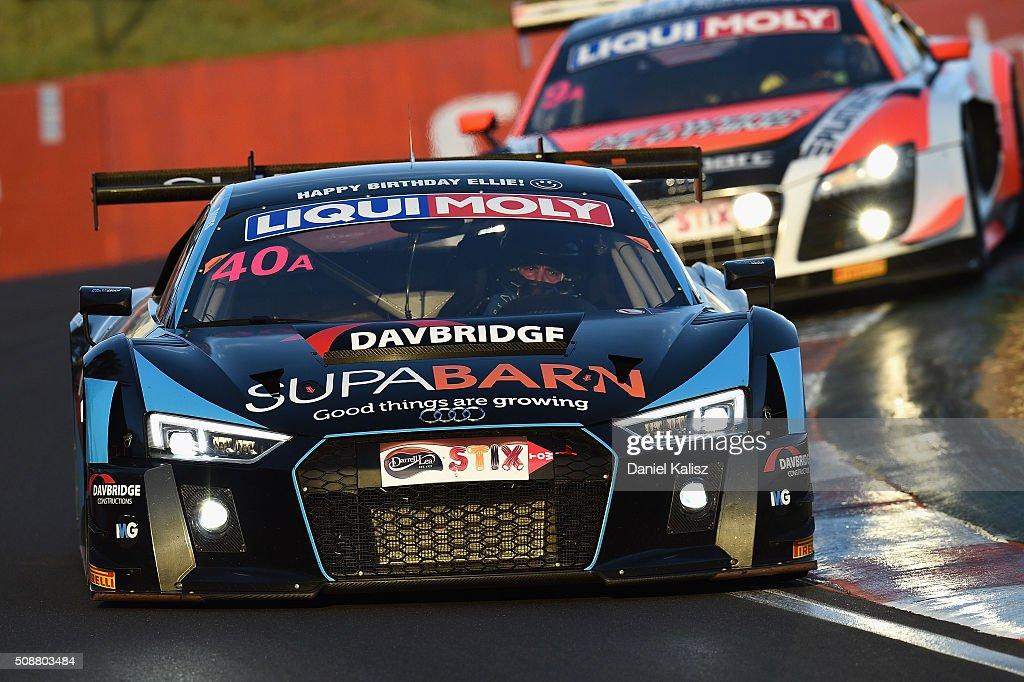 Marcus Marshall drives the #40 Audi R8-LMS Ultra during the Bathurst 12 Hour Race at Mount Panorama on February 7, 2016 in Bathurst, Australia.