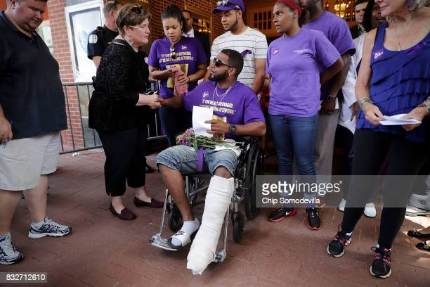 Marcus Martin who was injured when a car plowed into a crowd of people protesting against the white supremacist Unite the Right rally leaves the...