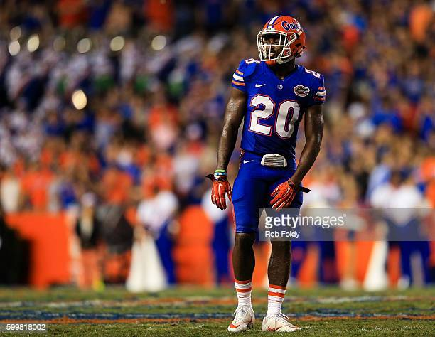 Marcus Maye of the Florida Gators looks on during the game against the Massachusetts Minutemen at Ben Hill Griffin Stadium on September 3 2016 in...