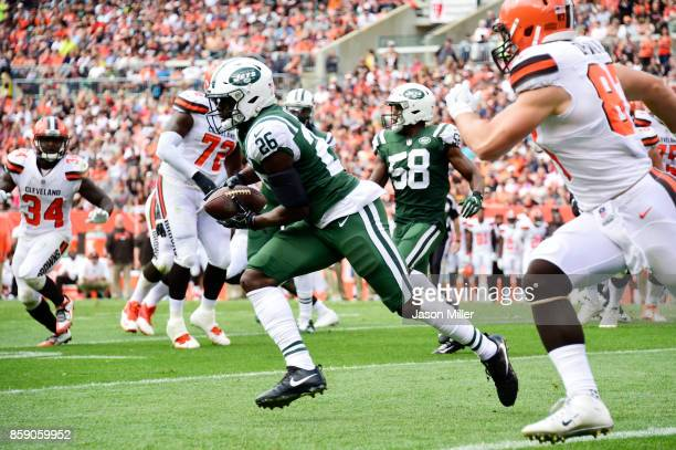 Marcus Maye of the New York Jets makes an interception against the Cleveland Browns in the second quarter at FirstEnergy Stadium on October 8 2017 in...