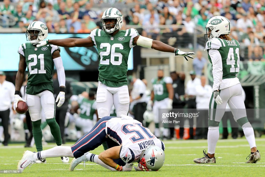 Marcus Maye #26 of the New York Jets reacts in the first half after making a defensive stop against Chris Hogan #15 of the New England Patriots during their game at MetLife Stadium on October 15, 2017 in East Rutherford, New Jersey.