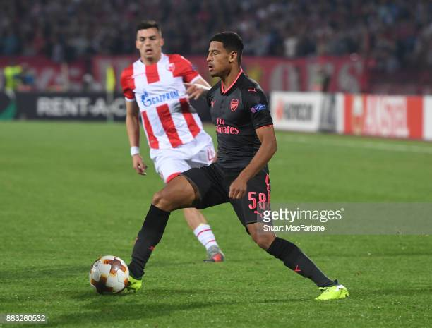 Marcus McGuane of Arsenal during the UEFA Europa League group H match between Crvena Zvezda and Arsenal FC at Rajko Mitic Stadium on October 19 2017...
