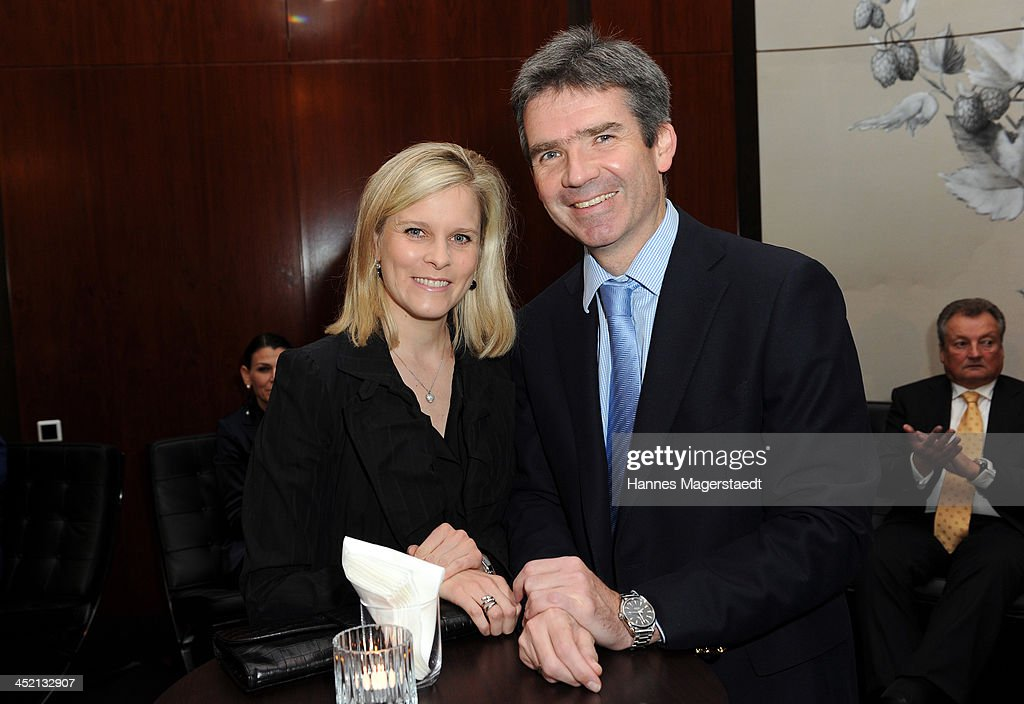 Marcus Meier and his wife Cathrin Meier attend Jaeger-LeCoultre Cocktail at Charles hotel on November 26, 2013 in Munich, Germany.