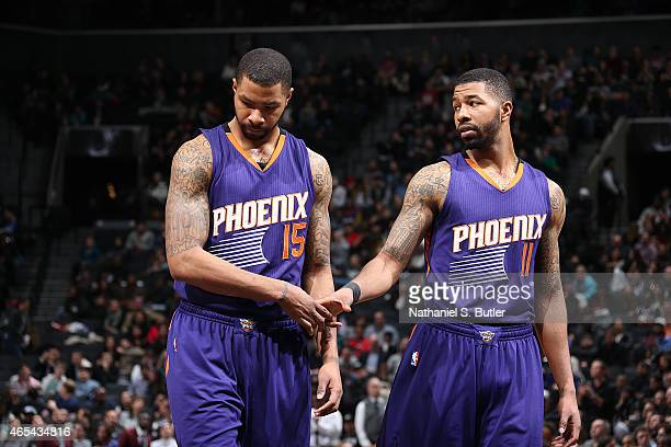 Marcus Morris and Markieff Morris of the Phoenix Suns during the game against the Brooklyn Nets on March 6 2015 at Barclays Center in Brooklyn New...