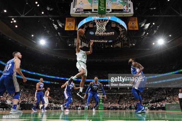 Marcus Morris of the Boston Celtics dunks against the Philadelphia 76ers on November 30 2017 at the TD Garden in Boston Massachusetts NOTE TO USER...