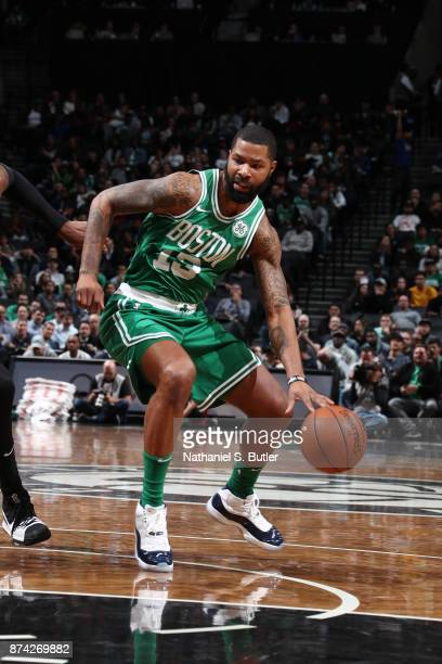 Marcus Morris of the Boston Celtics handles the ball against the Brooklyn Nets on November 14 2017 at Barclays Center in Brooklyn New York NOTE TO...
