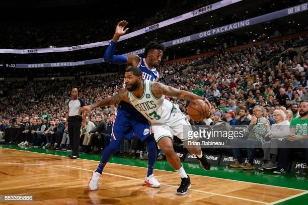 Marcus Morris of the Boston Celtics handles the ball against the Philadelphia 76ers on November 30 2017 at the TD Garden in Boston Massachusetts NOTE...