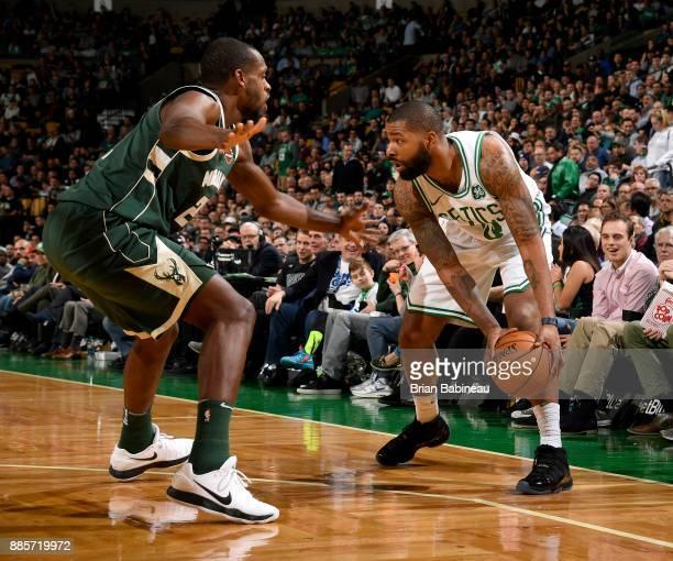 Marcus Morris of the Boston Celtics handles the ball against the Milwaukee Bucks on December 4 2017 at the TD Garden in Boston Massachusetts NOTE TO...