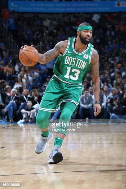 Marcus Morris of the Boston Celtics handles the ball against the Oklahoma City Thunder on November 3 2017 at Chesapeake Energy Arena in Oklahoma City...