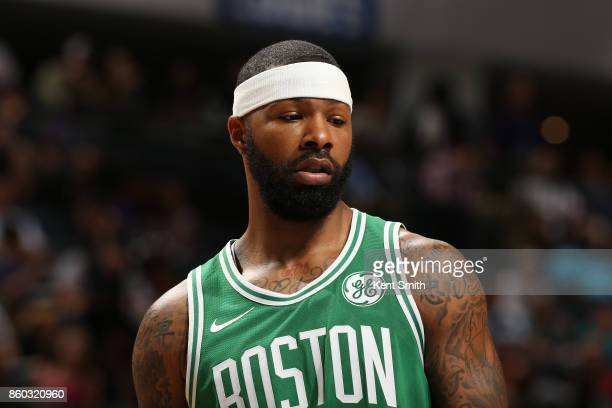 Marcus Morris of the Boston Celtics looks on during the game against the Charlotte Hornets on October 11 2017 at Spectrum Center in Charlotte North...