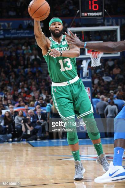 Marcus Morris of the Boston Celtics passes the ball during the game against the Oklahoma City Thunder on November 3 2017 at Chesapeake Energy Arena...
