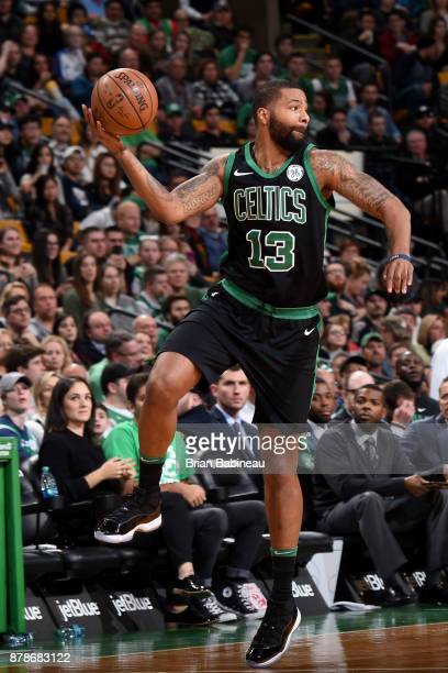 Marcus Morris of the Boston Celtics passes the ball during the game against the Orlando Magic on November 24 2017 at the TD Garden in Boston...