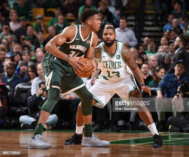Marcus Morris of the Boston Celtics plays defense against the Milwaukee Bucks on December 4 2017 at the TD Garden in Boston Massachusetts NOTE TO...
