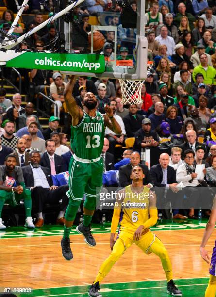 Marcus Morris of the Boston Celtics puts up the shot during the game against the Los Angeles Lakers on November 8 2017 at the TD Garden in Boston...