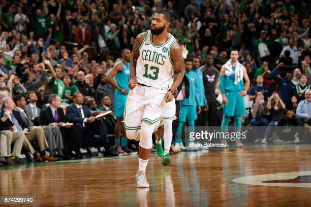 Marcus Morris of the Boston Celtics reacts during the game against the Charlotte Hornets on November 10 2017 at the TD Garden in Boston Massachusetts...