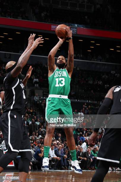Marcus Morris of the Boston Celtics shoots the ball against the Brooklyn Nets on November 14 2017 at Barclays Center in Brooklyn New York NOTE TO...