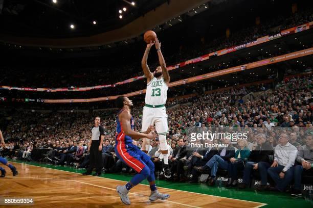 Marcus Morris of the Boston Celtics shoots the ball against the Detroit Pistons on November 27 2017 at the TD Garden in Boston Massachusetts NOTE TO...