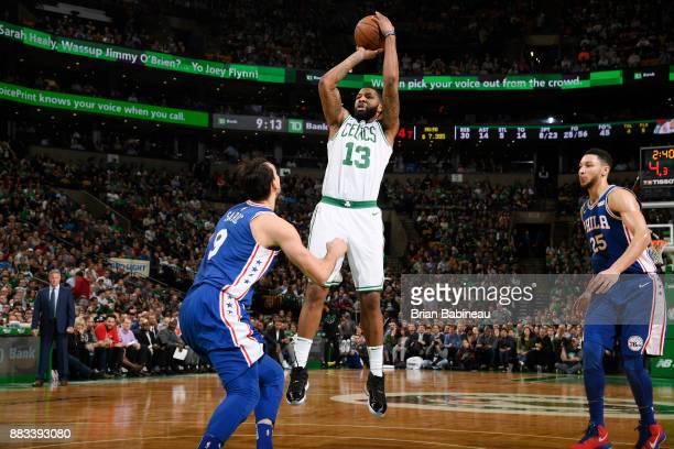 Marcus Morris of the Boston Celtics shoots the ball against the Philadelphia 76ers on November 30 2017 at the TD Garden in Boston Massachusetts NOTE...