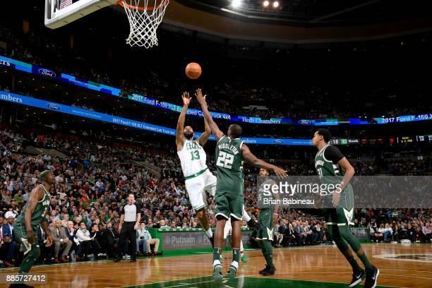Marcus Morris of the Boston Celtics shoots the ball against the Milwaukee Bucks on December 4 2017 at the TD Garden in Boston Massachusetts NOTE TO...