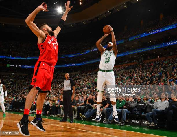 Marcus Morris of the Boston Celtics shoots the ball during the game against the Toronto Raptors on November 12 2017 at the TD Garden in Boston...