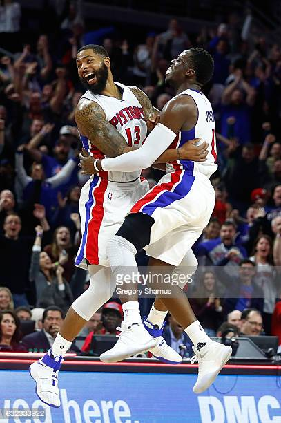 Marcus Morris of the Detroit Pistons celebrates his buzzer beating game winning shot with Reggie Jackson to beat the Washington Wizards 113112 at the...
