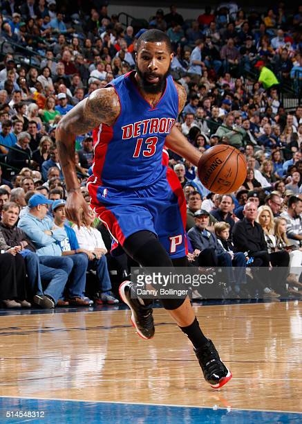 Marcus Morris of the Detroit Pistons drives against the Dallas Mavericks on March 9 2016 at the American Airlines Center in Dallas Texas NOTE TO USER...