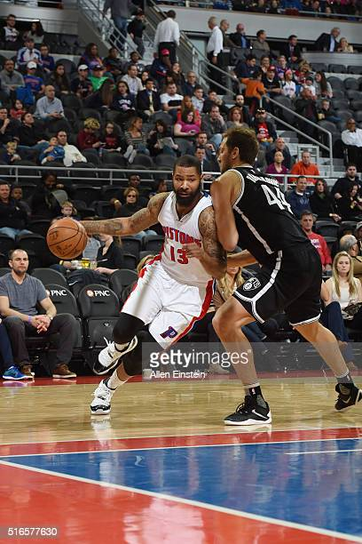 Marcus Morris of the Detroit Pistons drives to the basket against the Brooklyn Nets during the game on March 19 2016 at The Palace of Auburn Hills in...