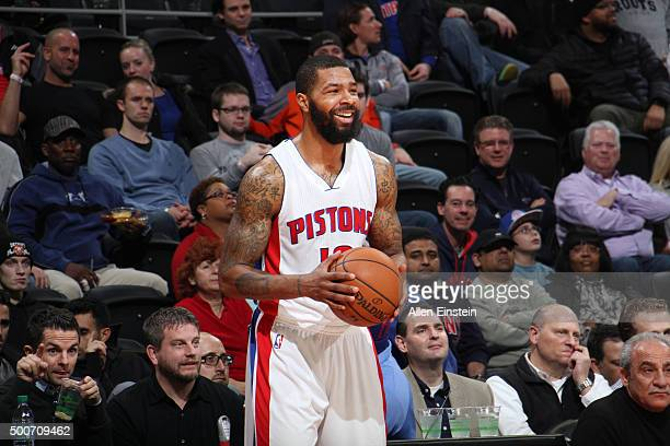 Marcus Morris of the Detroit Pistons during the game against the Memphis Grizzlies on December 9 2015 at The Palace of Auburn Hills in Auburn Hills...