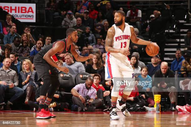 Marcus Morris of the Detroit Pistons handles the ball against Maurice Harkless of the Portland Trail Blazers during the game on February 28 2017 at...