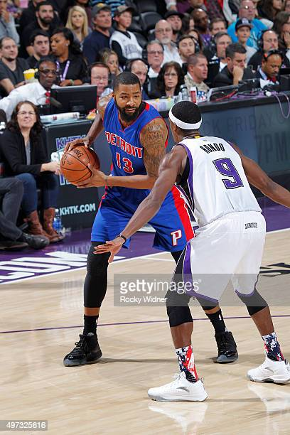 Marcus Morris of the Detroit Pistons handles the ball against Rajon Rondo of the Sacramento Kings on November 11 2015 at Sleep Train Arena in...