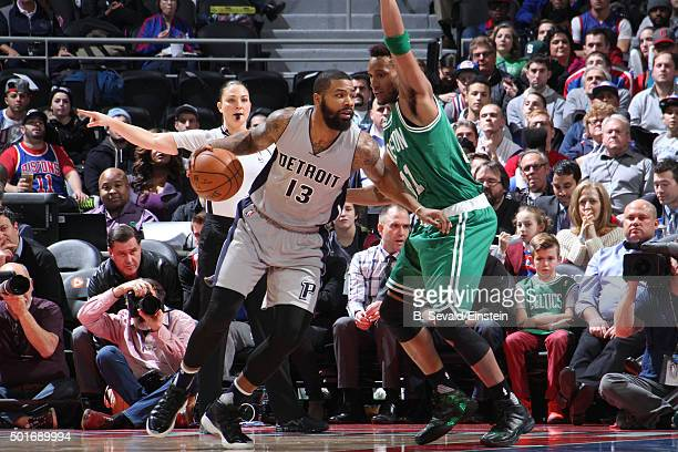 Marcus Morris of the Detroit Pistons handles the ball against the Boston Celtics on December 16 2015 at The Palace of Auburn Hills in Auburn Hills...
