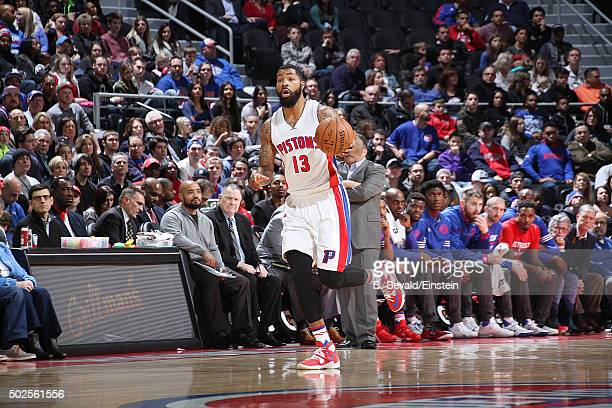 Marcus Morris of the Detroit Pistons handles the ball against the Boston Celtics on December 26 2015 at The Palace of Auburn Hills in Auburn Hills...