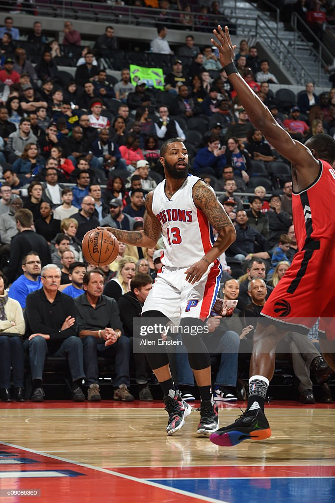<a gi-track='captionPersonalityLinkClicked' href=/galleries/search?phrase=Marcus+Morris+-+Basketball+Player&family=editorial&specificpeople=9867055 ng-click='$event.stopPropagation()'>Marcus Morris</a> #13 of the Detroit Pistons handles the ball against the Toronto Raptors on February 8, 2016 at The Palace of Auburn Hills in Auburn Hills, Michigan.