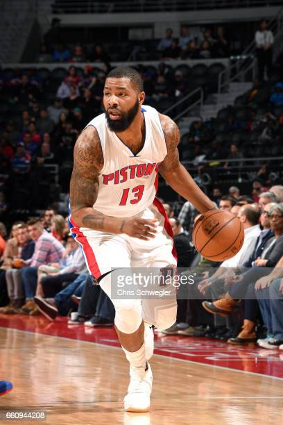 Marcus Morris of the Detroit Pistons handles the ball during the game against the Brooklyn Nets on March 30 2017 at The Palace of Auburn Hills in...