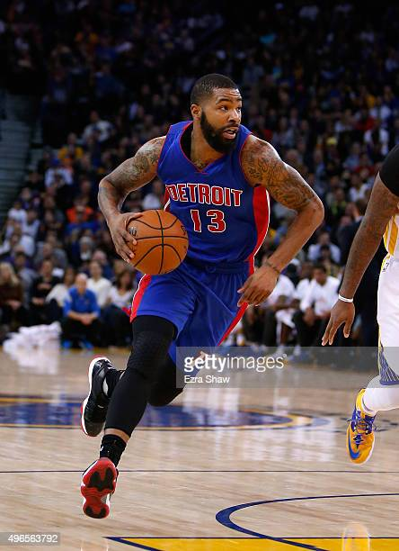 Marcus Morris of the Detroit Pistons in action against the Golden State Warriors at ORACLE Arena on November 9 2015 in Oakland California NOTE TO...