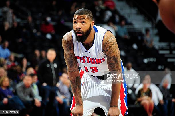 Marcus Morris of the Detroit Pistons looks on during the game against the Atlanta Hawks on March 16 2016 at The Palace of Auburn Hills in Auburn...