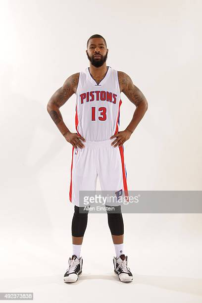 Marcus Morris of the Detroit Pistons poses during media day on September 28 2015 at The Palace of Auburn Hills in Auburn Hills Michigan NOTE TO USER...
