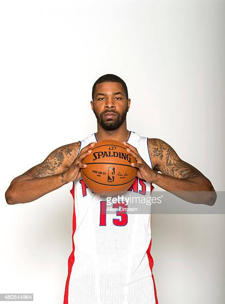 Marcus Morris of the Detroit Pistons poses for a portrait on July 10 2015 at the Palace of Auburn Hills in Auburn Hills Michigan NOTE TO USER User...