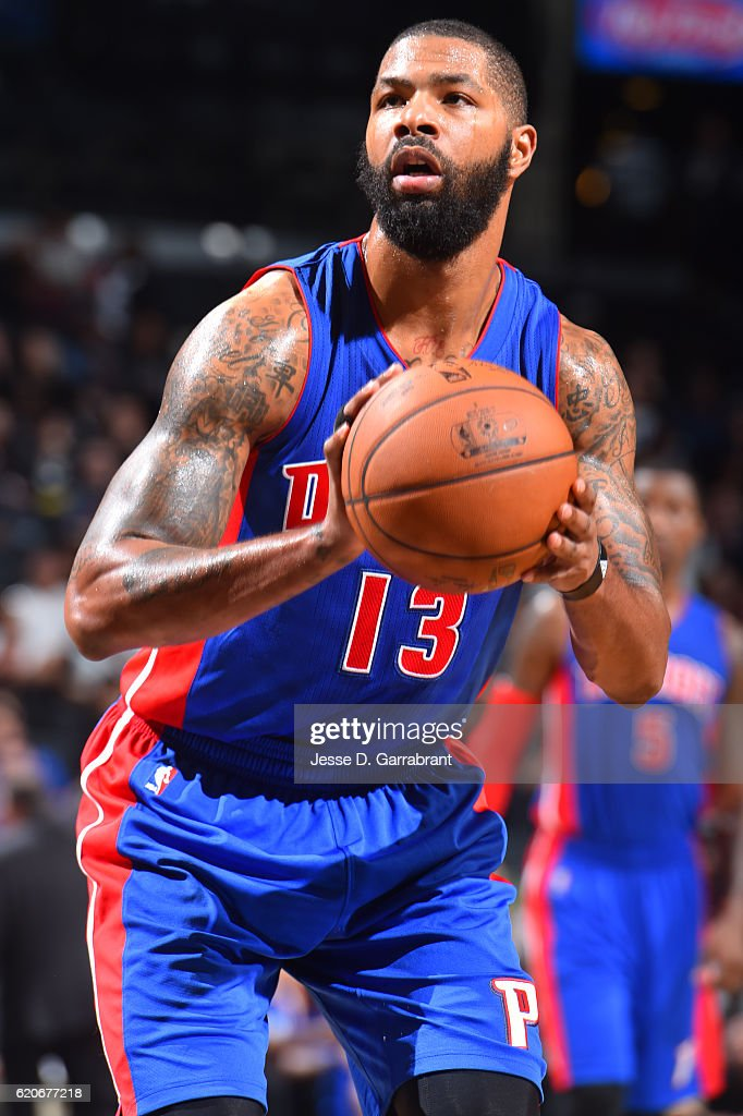 Marcus Morris #13 of the Detroit Pistons shoots a foul shot against the Brooklyn Nets on November 2,2016 at Barclays Center in Brooklyn, New York.