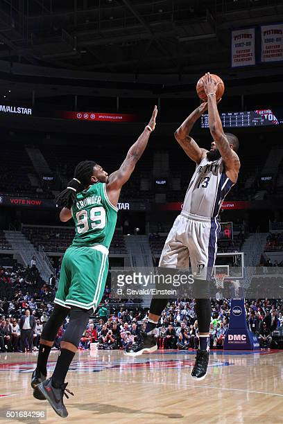 Marcus Morris of the Detroit Pistons shoots the ball against the Boston Celtics on December 16 2015 at The Palace of Auburn Hills in Auburn Hills...