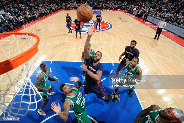 Marcus Morris of the Detroit Pistons shoots the ball against the Boston Celtics on February 26 2017 at The Palace of Auburn Hills in Auburn Hills...