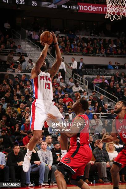 Marcus Morris of the Detroit Pistons shoots the ball against the Toronto Raptors on April 5 2017 at The Palace of Auburn Hills in Auburn Hills...