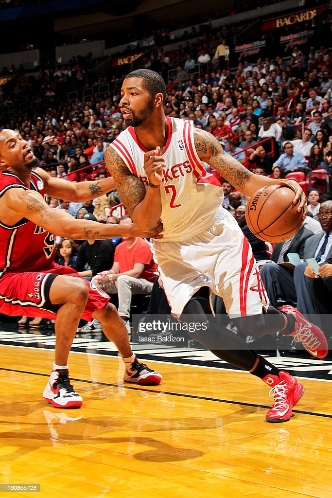 Marcus Morris #2 of the Houston Rockets drives against Rashard Lewis #9 of the Miami Heat on February 6, 2013 at American Airlines Arena in Miami, Florida.